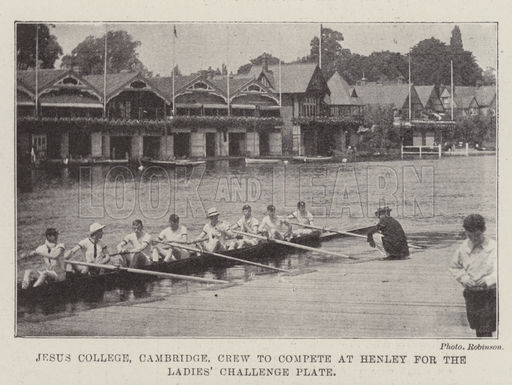 Jesus College, Cambridge, Crew to compete at Henley for the Ladies' Challenge Plate. Illustration for The Illustrated London News, 29 June 1901.